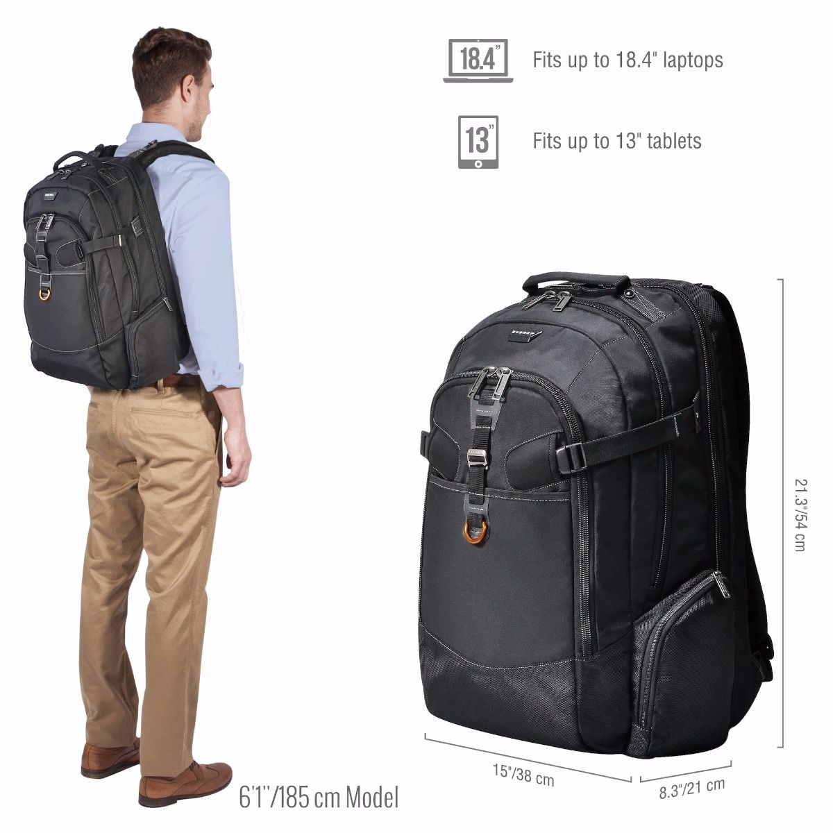 EVERKI Business 120 Travel Friendly Laptop Backpack, up to