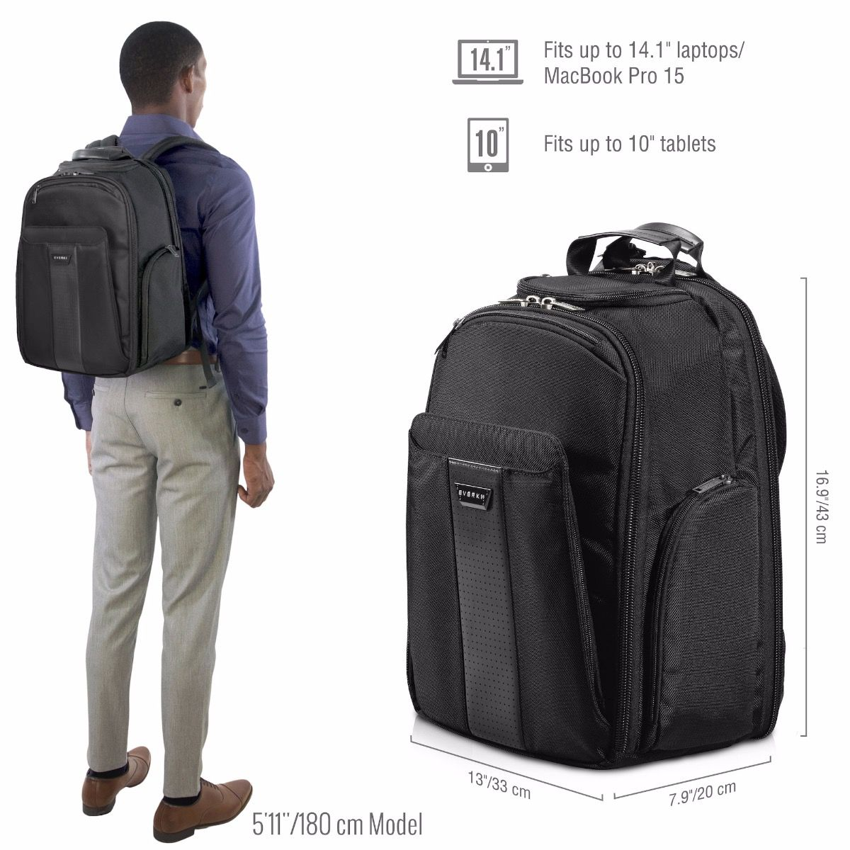 Versa Premium Travel Friendly Laptop Backpack Up To 14 1 Inch Macbook Pro 15 Everki